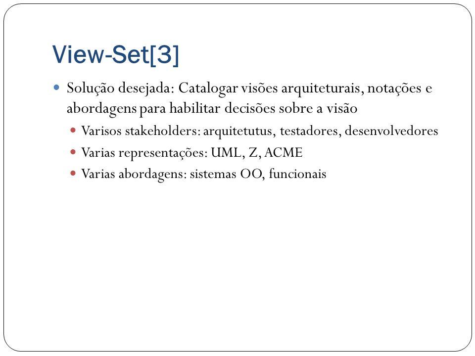 View-Set[3]Solução desejada: Catalogar visões arquiteturais, notações e abordagens para habilitar decisões sobre a visão.